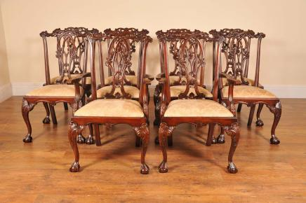 10 English Gothic Chippendale Dining Chairs
