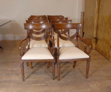10 Regency Swag Mahogany Dining Chairs Chair