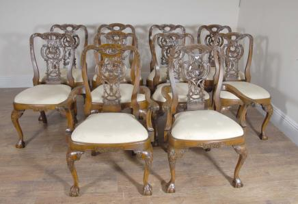 10 Walnut English George II Dining Chairs Chair Set Carver