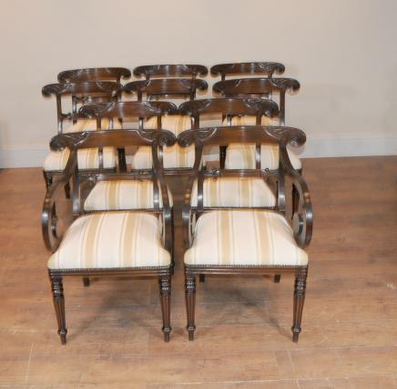 10 William IV English Bar Back Dining Chairs