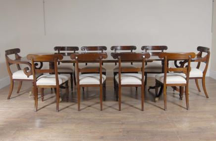 10 ft English Regency Dining Table & Set 10 Chairs Chair
