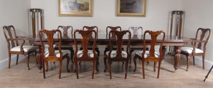 14 Foot Victorian Dining Table & 10 Queen Anne Chairs Diner Set