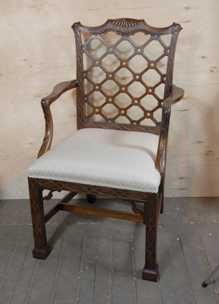 8 Gothic Chippendale Mahogany Dining Chairs
