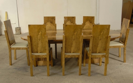 8 Walnut Art Deco Dining Table Chairs Chair Diners 1920