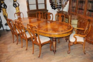 Antique Table and Chairs Walnut Dining Set