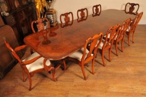 Antique Walnut Dining Set Table Queen Anne Chairs