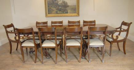Chippendale Dining Table Set Regency Chairs Suite