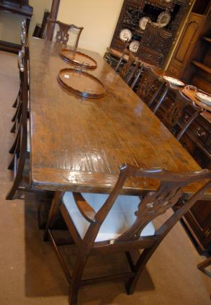 ENGLISH FARMHOUSE OAK CHIPPENDALE DINING CHAIRS