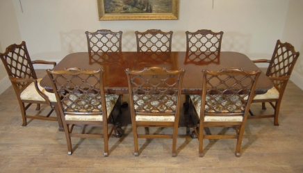 English Chippendale Mahogany Table & Gothic Chair Dining Set