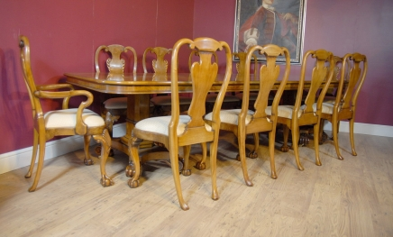 English George III Walnut Dining Table & 10 Queen Anne Chairs