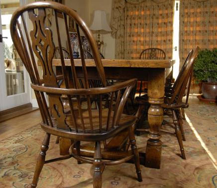 English Oak Refectory Table & 8 Windsor Chair Dining Set