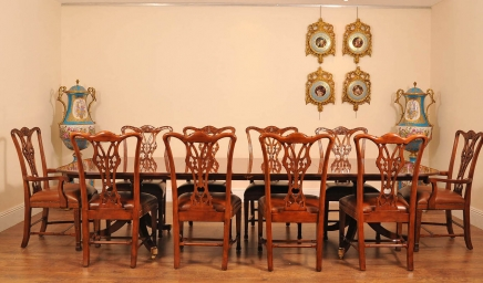 English Regency Dining Table & Set Chippendale Chairs
