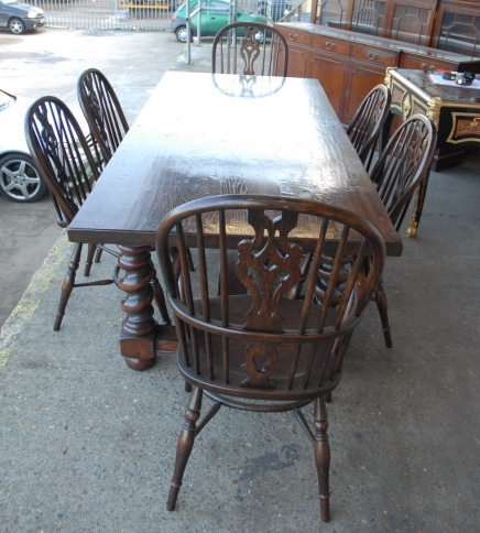 English Rustic Barley Twist Table & Windsor Chair Dining Set