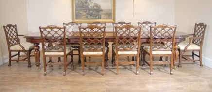 English Victorian Dining Table & Set 10 Chippendale Chairs