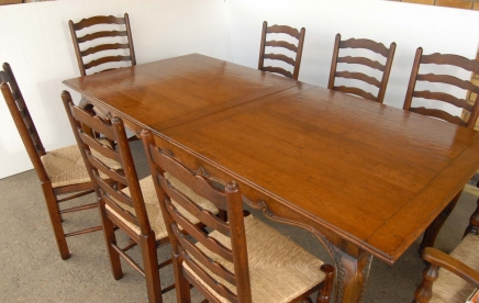 French Rustic Ladderback Chair & Dining Table Set