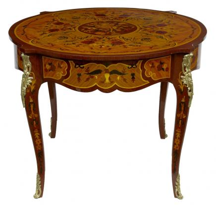 Louis XV Round Centre Table Marquetry Inlay French Furniture