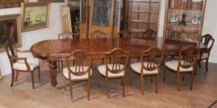 Mahogany Dining Table Chairs Victorian Extender & Sheraton Chair Set