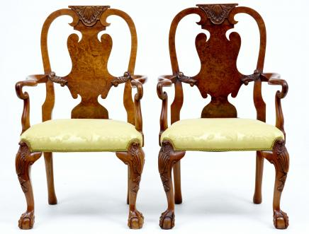 Pair Antique Queen Anne Walnut Dining Chairs