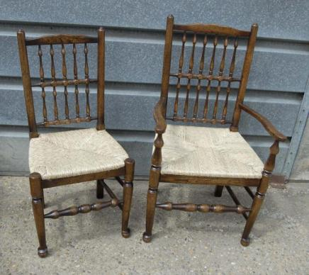 Perfect Pair Oak Spindleback Kitchen Chairs Country Farmhouse With