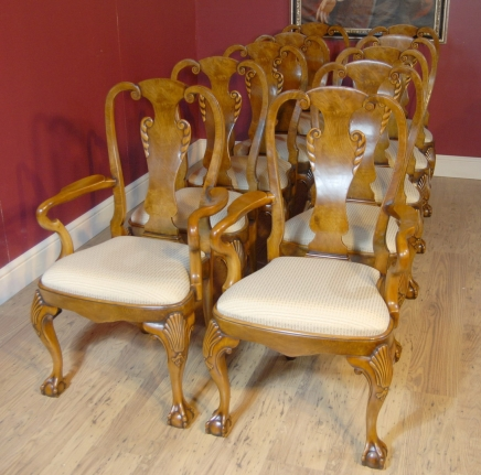 Queen Anne Walnut Dining Chairs - Queen Anne Dining Chairs