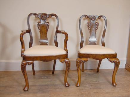 Queen Anne Walnut Dining Chairs