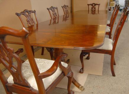 Regency Dining Table Set Chippendale Chairs Suite