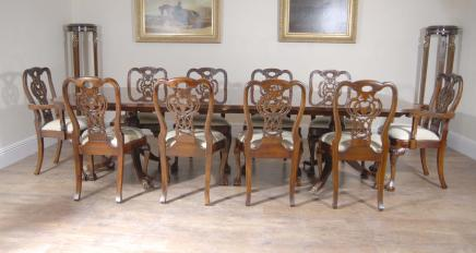 Regency Dining Table & Set George II Chairs Suite