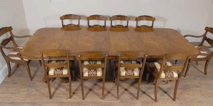Regency Walnut Dining Table & 10 William IV Chairs Set
