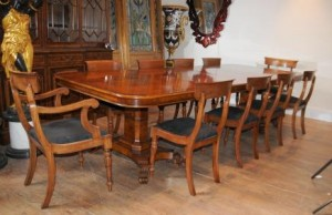 Regency Walnut Table and Chairs Set