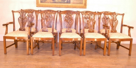 Set 10 English Chippendale Dining Chairs Harp Backs