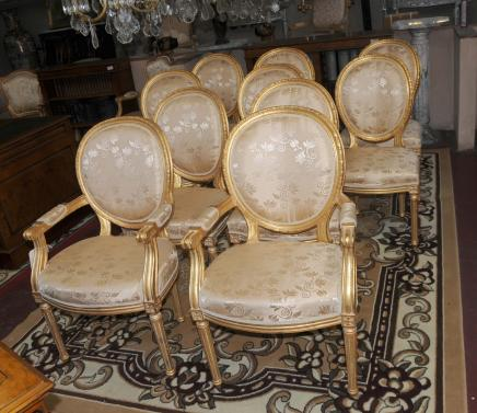 Set 10 French Neo Classical Gilt Dining Chairs Louis XV Chair