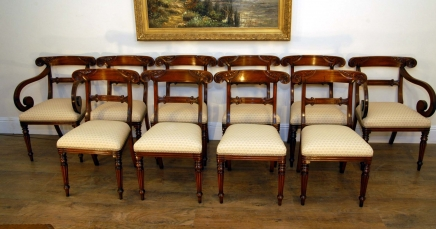 Set 10 Regency Mahogany Carved Dining Chairs Seats Chair