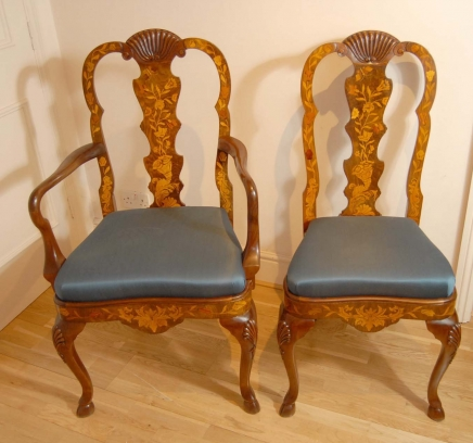 Set 8 English Queen Anne Marquetry Inlay Dining Chairs