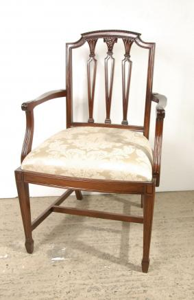 Set 8 Hepplewhite English Mahogany Dining Chairs