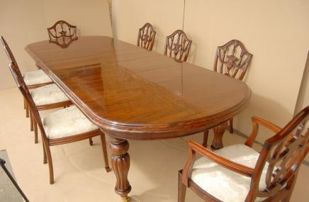 Victorian Dining Set Table & Adams Mahogany Chairs Suite