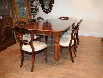 Victorian Mahogany Dining Table Set Chairs Balloon Back Nice Look