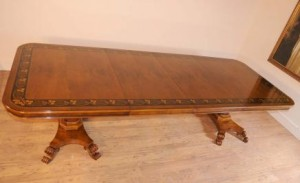 Walnut Inlay Regency Pedestal Dining Table