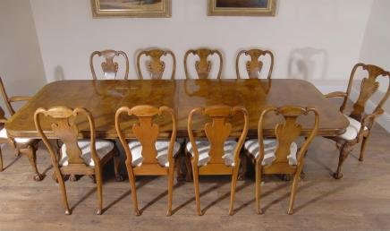 Walnut Regency Dining Set With Queen Anne Chairs