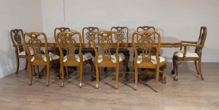Walnut Regency Dining Table & 10 George II Chairs Set