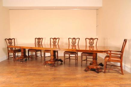 14 Ft Walnut Regency 3 Ped Dining Table Bullock Base Tables