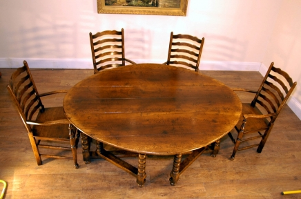 ENGLISH RUSTIC OAK GATELEG DROP LEAF TABLE BARLEY LEGS