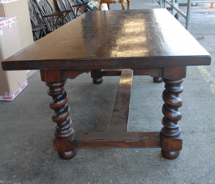 English Rustic Refectory Table With Barley Twist Legs
