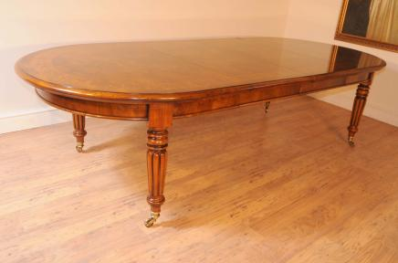 Walnut Victorian Dining Table Extending Tables Marquetry Inlay Diner