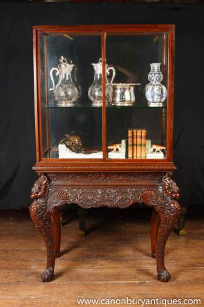 Antique Collectors Display Cabinet Chinese Chippendale Mahogany