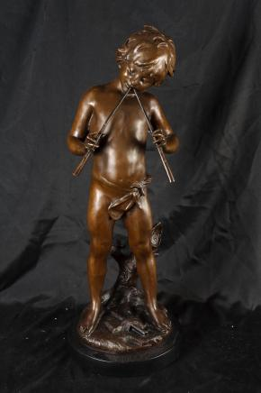 Bronze Pan Piper Boy Statue Signed Moreau French