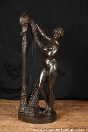 French Bronze Female Nude Harpist Statue Figurine Harp