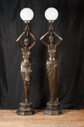 Pair Large French Bronze Figurine Lamps Lights Statue Torcheres Architectural