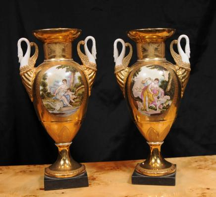 Pair Sevres French Bisque Porcelain Swan Hand Painted Vases Urns