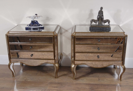 Pair Italian Mirrored Art Deco Bedside Tables