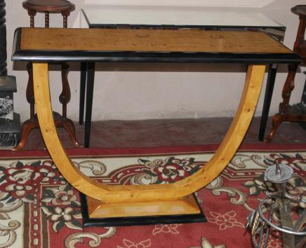 art deco hall console table blonde walnut tables furniture